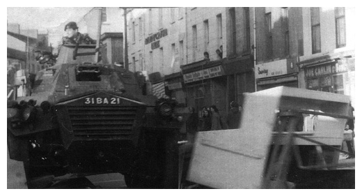 British troops clear a Civil Rights barricade in Newry centre.