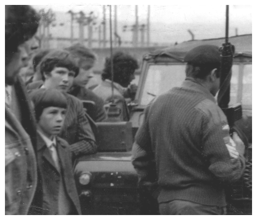 Newry gaels block the British Army from entering Pairc An Iuir in a search for arms and explosives in the 1970's.