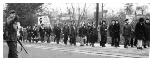 Newry women taking part in a march to the border in protest against Bloody Sunday and internment.