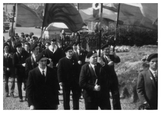Dan Moore (centre) was jailed for carrying the Irish Tricolour during this Easter Commemoration in the 1960's.