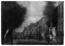 Newry centre ablaze early on the morning of Internment. Many of those 'lifted' were Civil Rights activists.