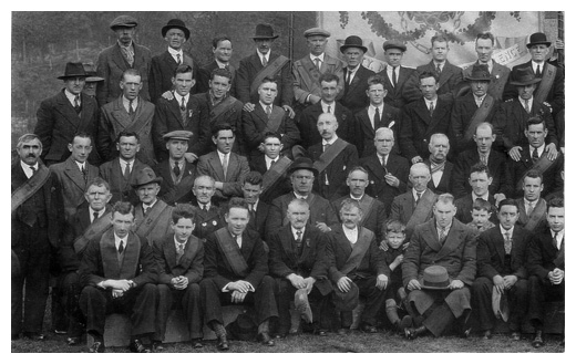 Forebearers of many Newry families and emigrants were featured in this historic photograph, containing the John Mitchel branch of the Irish National Foresters during the 1930's.