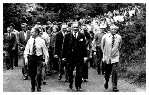 Leading a protest march against the British Army blockade outside Omeath, were councillor Tommy Elmore, flanked by Louis Doyle and Kevin Mulligan.