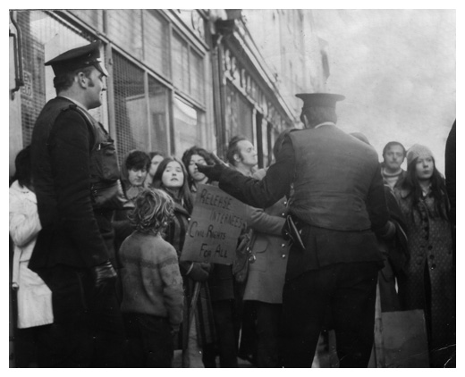 The old RUC confront Civil Rights marchers in Newry in the early 1970's.